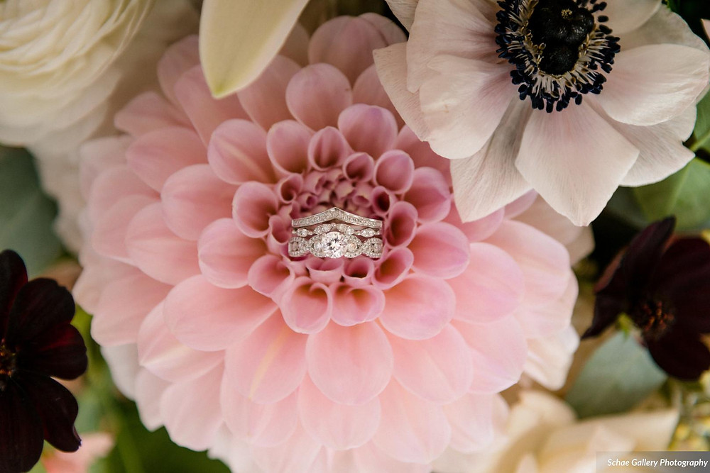 Blush Dahlia Used in Bridal Bouquet in Denver Wedding
