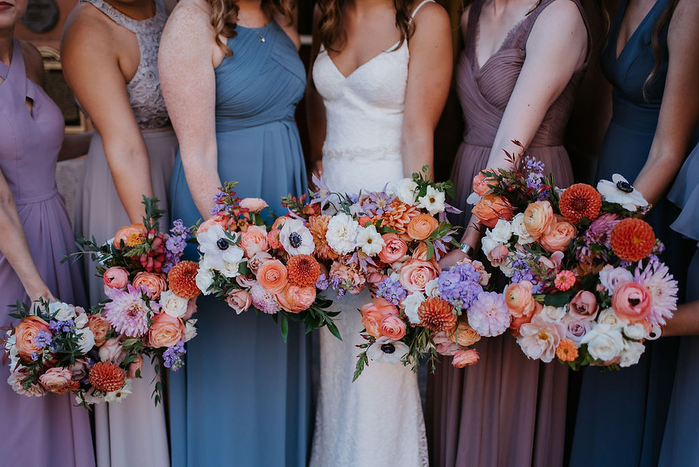 lavender and orange wedding bouquet