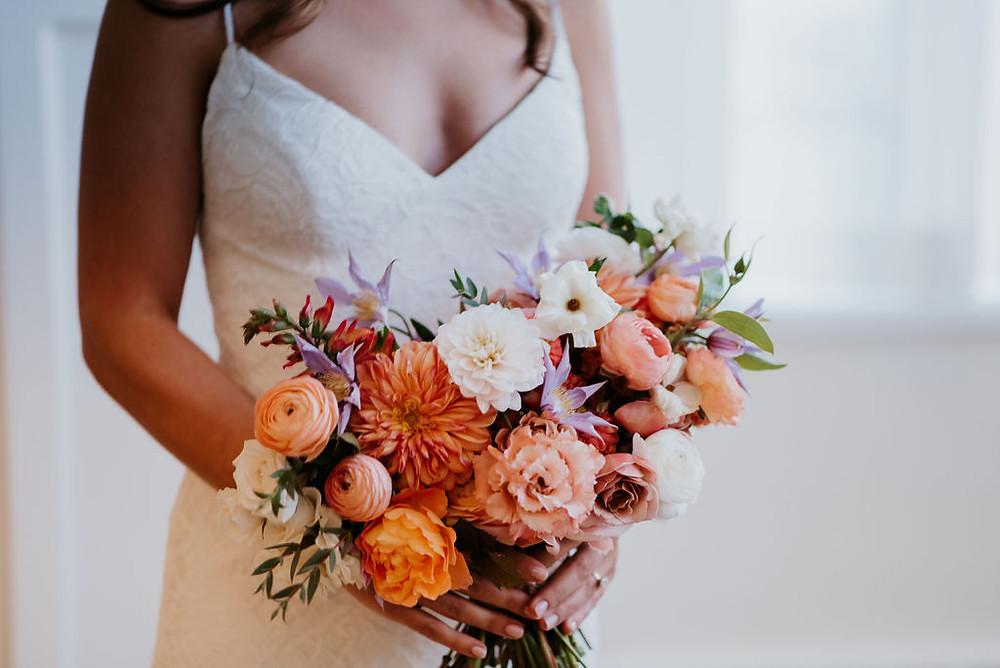 orange lavender bridal bouquet