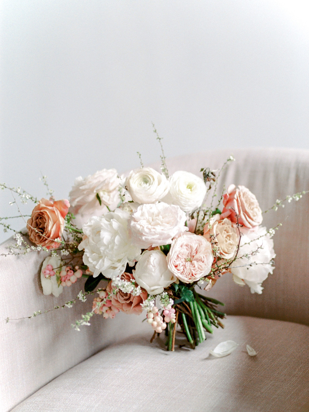 Blush Bouquet with White Peonies and Ranunculus
