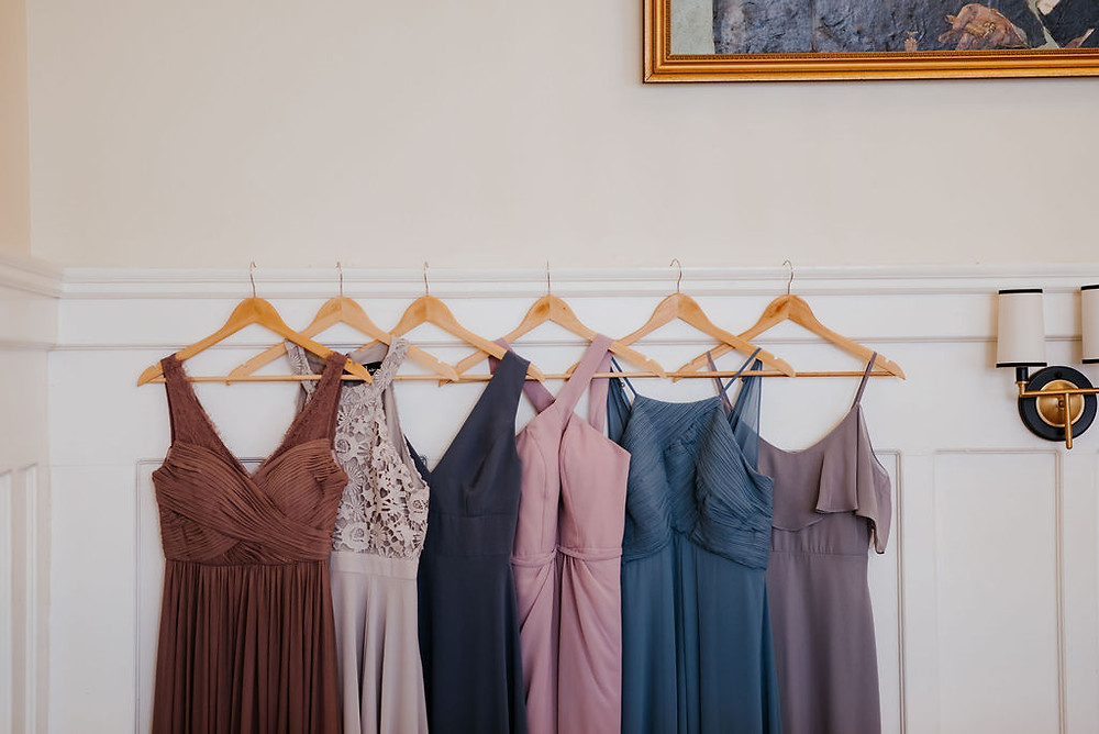 lavender and dusty blue bridesmaids dresses