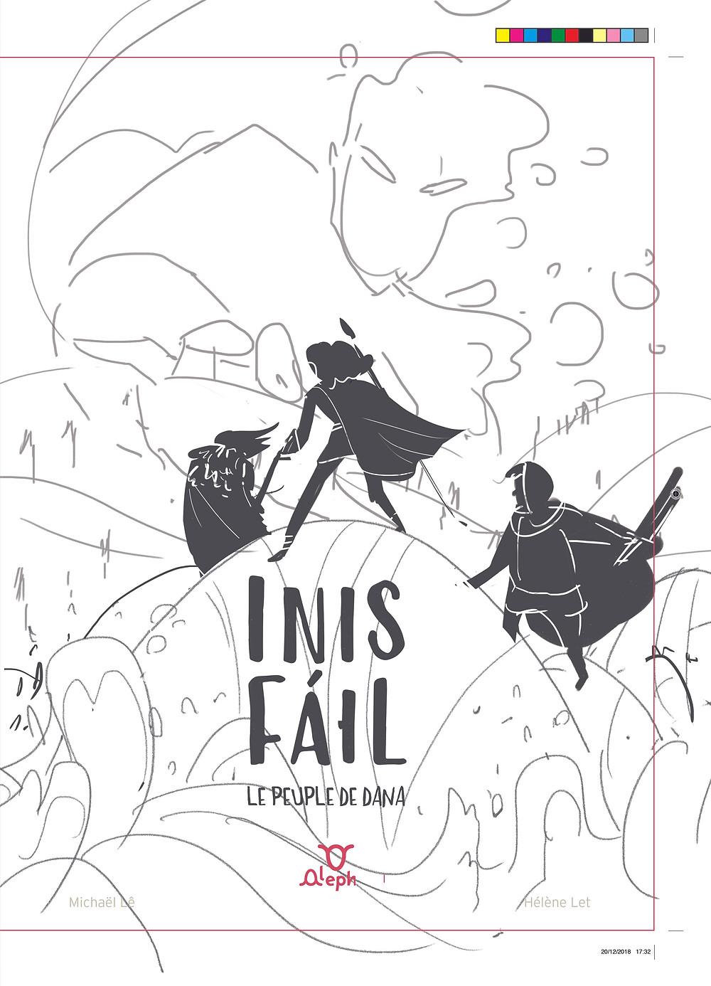 Illustration jeunesse croquis couverture du livre Inis Fail