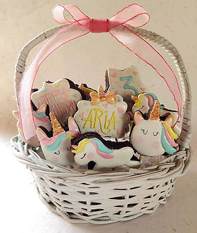 Basket of unicorn themed cookies that we