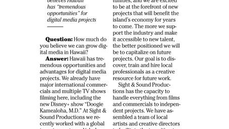Honolulu Star-Advertiser: Isle can grow digital media, 'Magnum P.I.' producer says.