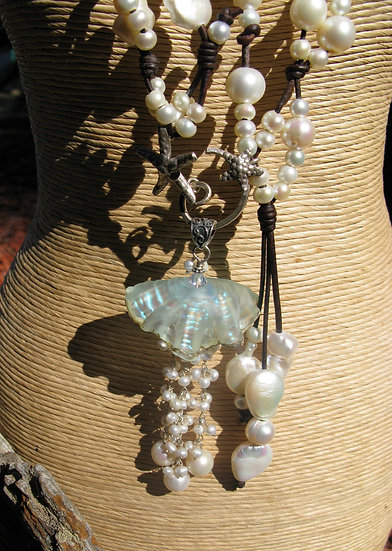 3 Way  Freshwater Pearl and Leather necklace w/ Jelly fish