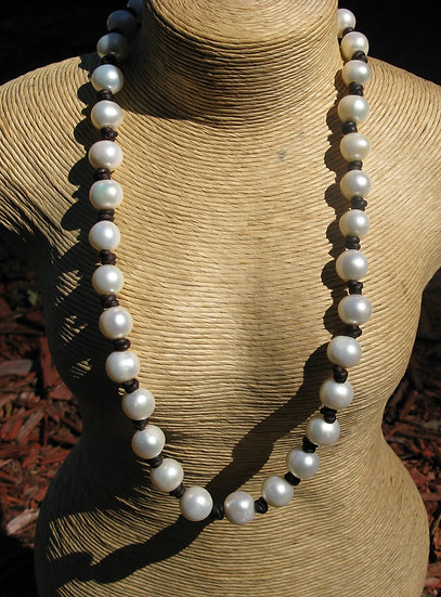 "23"" long Yummy Freshwater Pearl and Leather necklace"