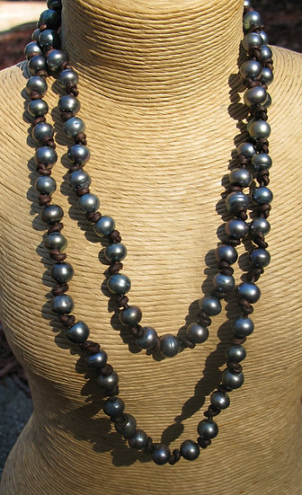"""40"""" long Freshwater Pearl and Leather necklace"""