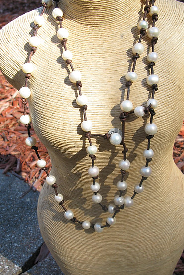 "52"" long Freshwater Pearl and Leather necklace"