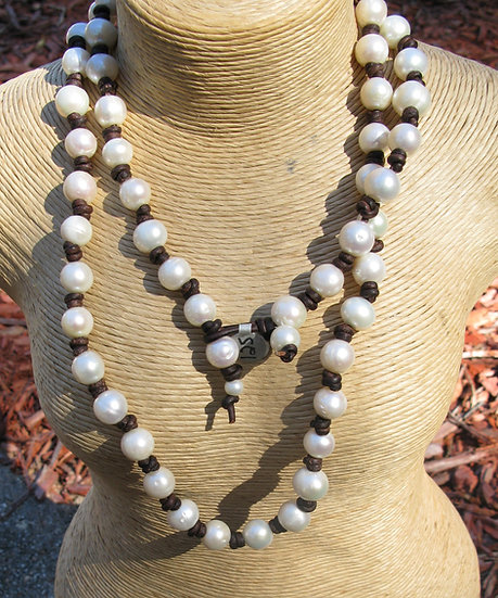 "34"" long Freshwater Pearl and Leather necklace"