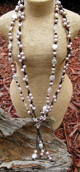 "32"" Dbl Wrap long Freshwater Pearl and Leather necklace"