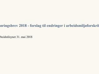 Forslag til endringer i arbeidsmiljøforskriftene - 2018