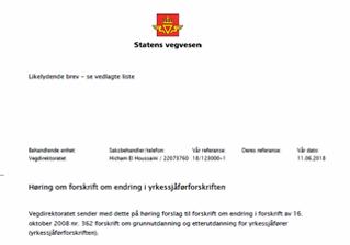 Høring om forskrift om endring i yrkessjåførforskriften