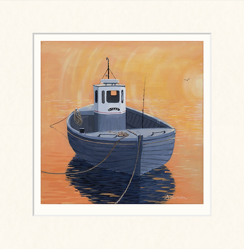 Sally on her mooring - mounted print