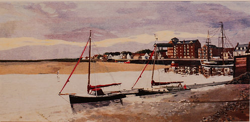 """Wells  Quay at Dawn with an incoming Tide"""