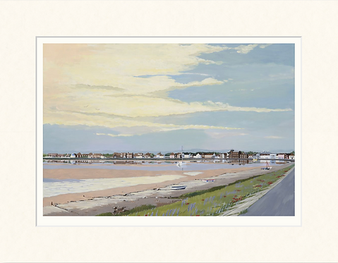 Wells Quay from the beach bank - mounted print