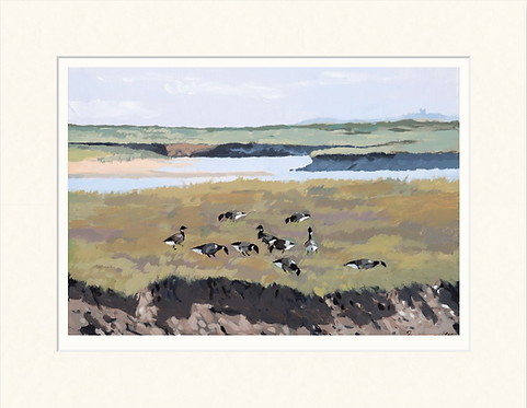 Brent Geese on Wells Marshes - mounted print