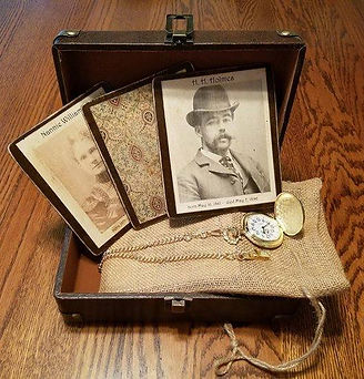 HH Holmes and 9 of his victims. Gold Pocket Watch an Box.
