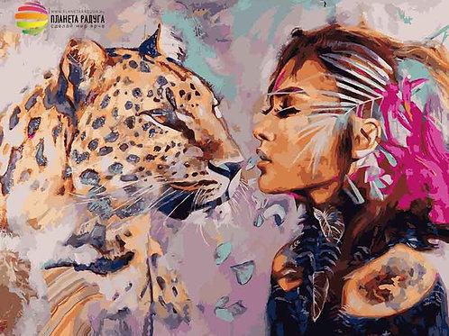 """Картина по номерам """"Девушка с леопардом"""" 40х50 см"""