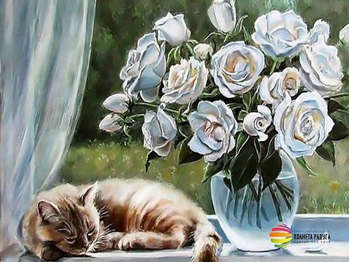 "Картина по номерам ""Цветы и кошка"" 40х50 см"