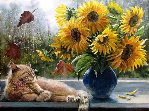 "Картина по номерам ""Кот и подсолнухи"" 40х50 см"