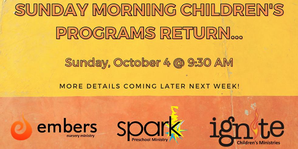 Sunday Children's Programs Return!