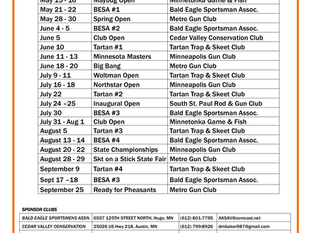 The highly sought after and anticipated skeet shoot schedule for the 2021 season!