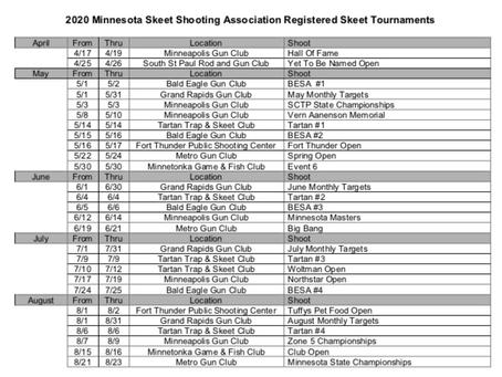 2020 Shoot Schedule