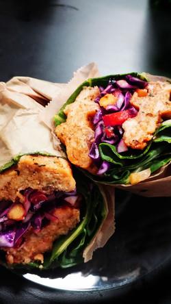 Salmon Burger in Collard Green Wrap