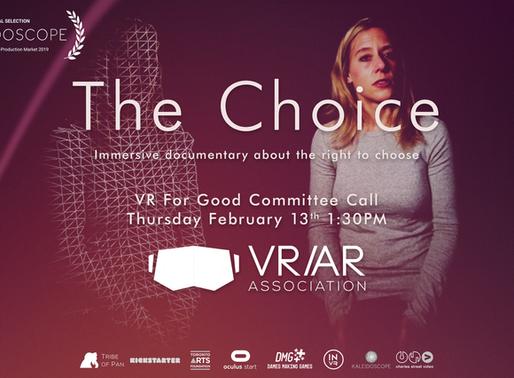 VR/AR Association VR For Good Call