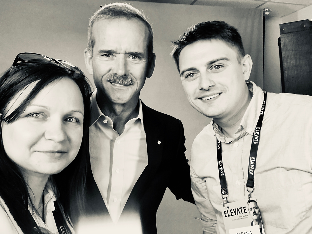 Tribe of Pan founders, Joanne-Aśka Popińska and Tom C. Hall interviewing famous astronaut, Chris Hadfield