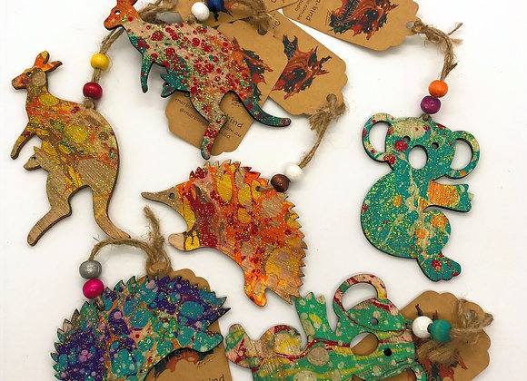 Assorted Christmas Ornaments - Native Animal Figurines (Pack of 3)