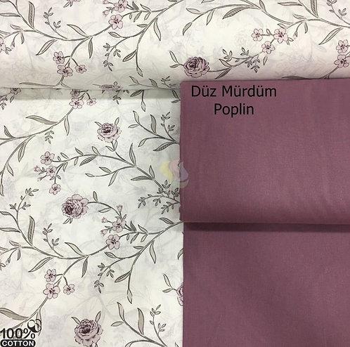 Ürün No: A32853825 Okyanus Gülleri Desenli Poplin