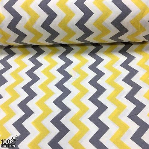 Ürün No: A32853999 Sarı Gri Zigzag Desenli Flanel Bebe Pazen Kumaş (Kalın)