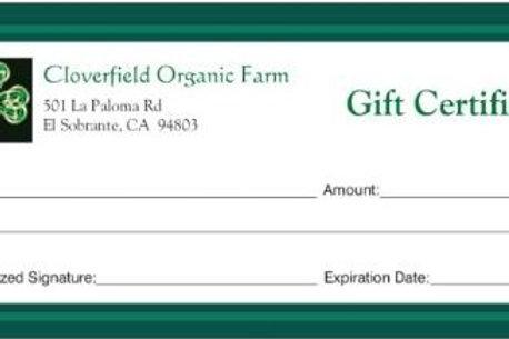 Cloverfield Farm Gift Certificate