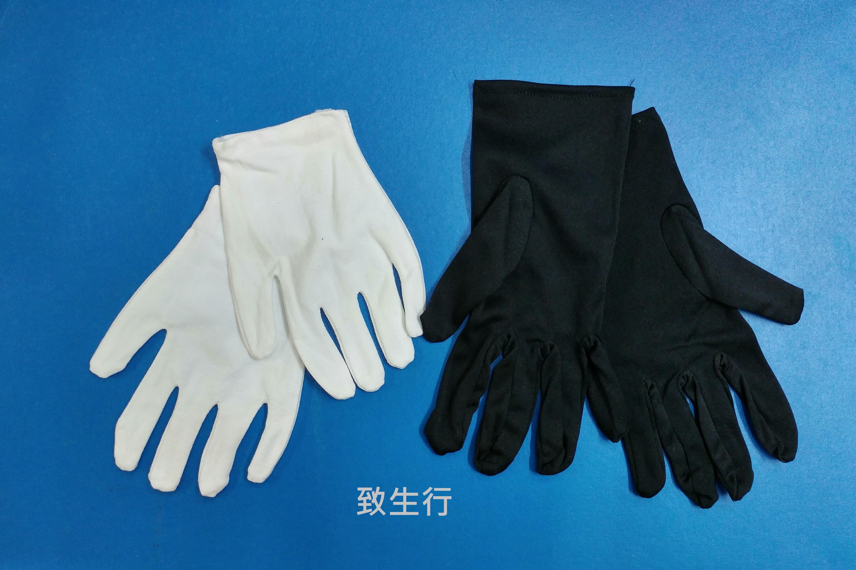 黑色, 白色綿手套