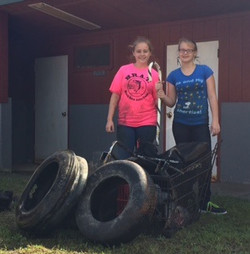 Candace and Alexandra with tires 02