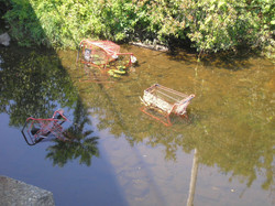 River by plaza with red carts