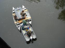Tire brigade, canoemaran, view from bridge