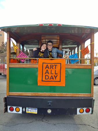 Addison - Iana and Anna on trolley.jpg