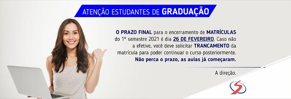Banner Portal Prazo de Matricula 2021-1.