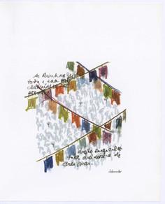 """Ilustração de Álamo Oliveira publicada em """"O homem que era feito de rede"""", de Katherine Vaz."""