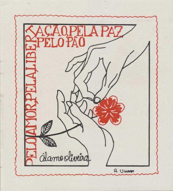Ex-libris de Álamo Oliveira. Autor do desenho: Augusto Manuel de Vasconcelos Vilaça, 1984. Gravado em plástico.