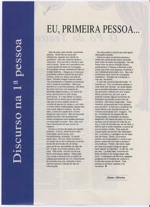 Eu, primeira pessoa... / Álamo Oliveira In: Açorianíssima. - Ponta Delgada. - A. 1, n.º 8 (ag. 1992) p. 102