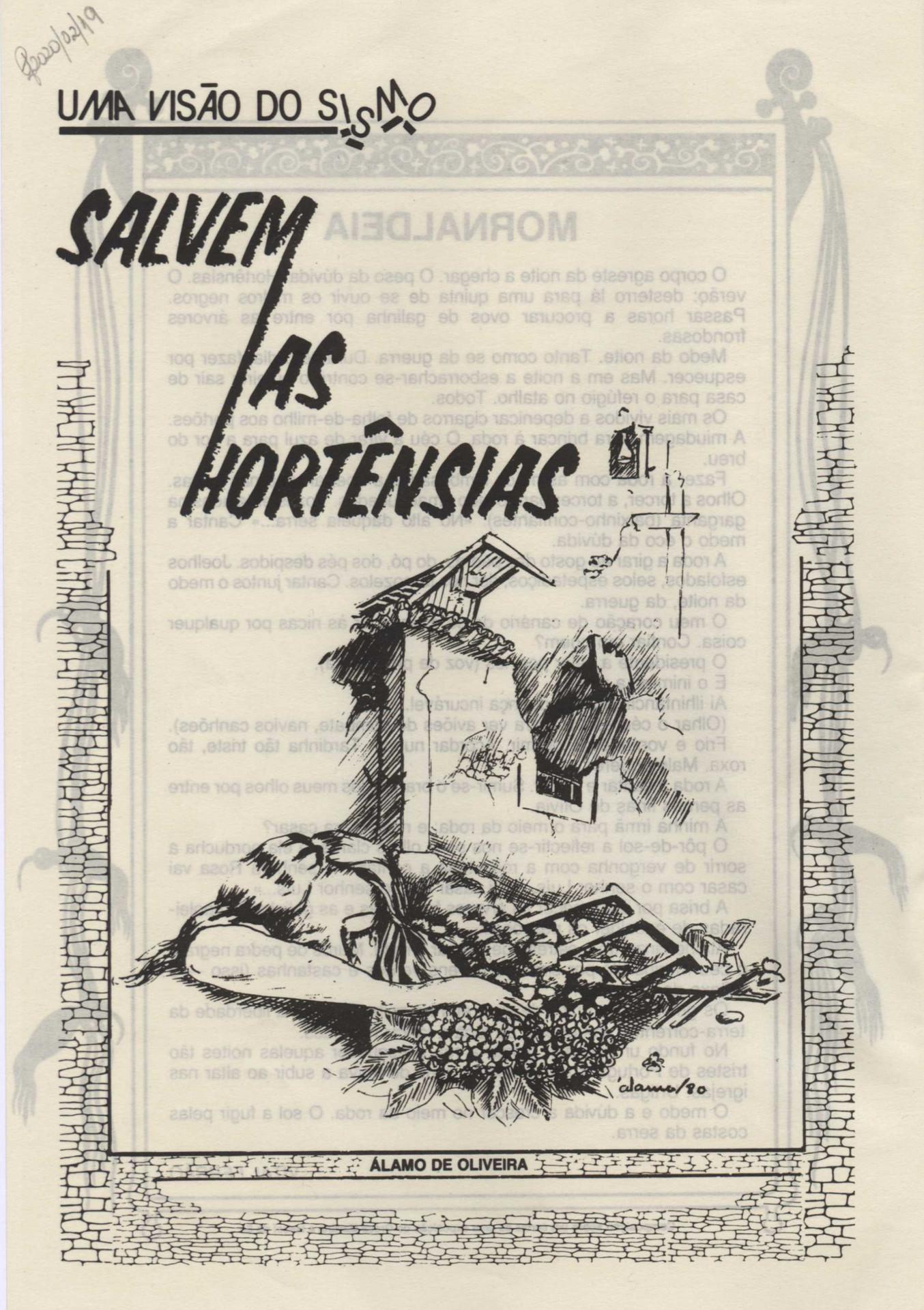 """Salvem as hortências. - No desenho: """"álamo/80"""". In: A Memória da Água-Viva : revista açoreana de cultura. - Lisboa. - N.º 7 (out. 1980), p. 14"""