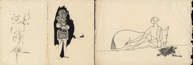 Desenhos de Álamo Oliveira.1973  Tinta da China sobre papel  Col. particular Álamo Oliveira