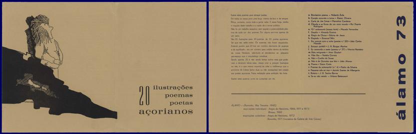 """ÁLAMO 73 : 20 ilustrações, poemas, poetas açorianos. - [Angra do Heroísmo] : [s.n.], 1973. - 2 f. ; 23x21 cm. - Programa de exposição composta por """"20 ilustrações para 20 poemas de 20 poetas açorianos"""".  Col. particular Álamo Oliveira"""