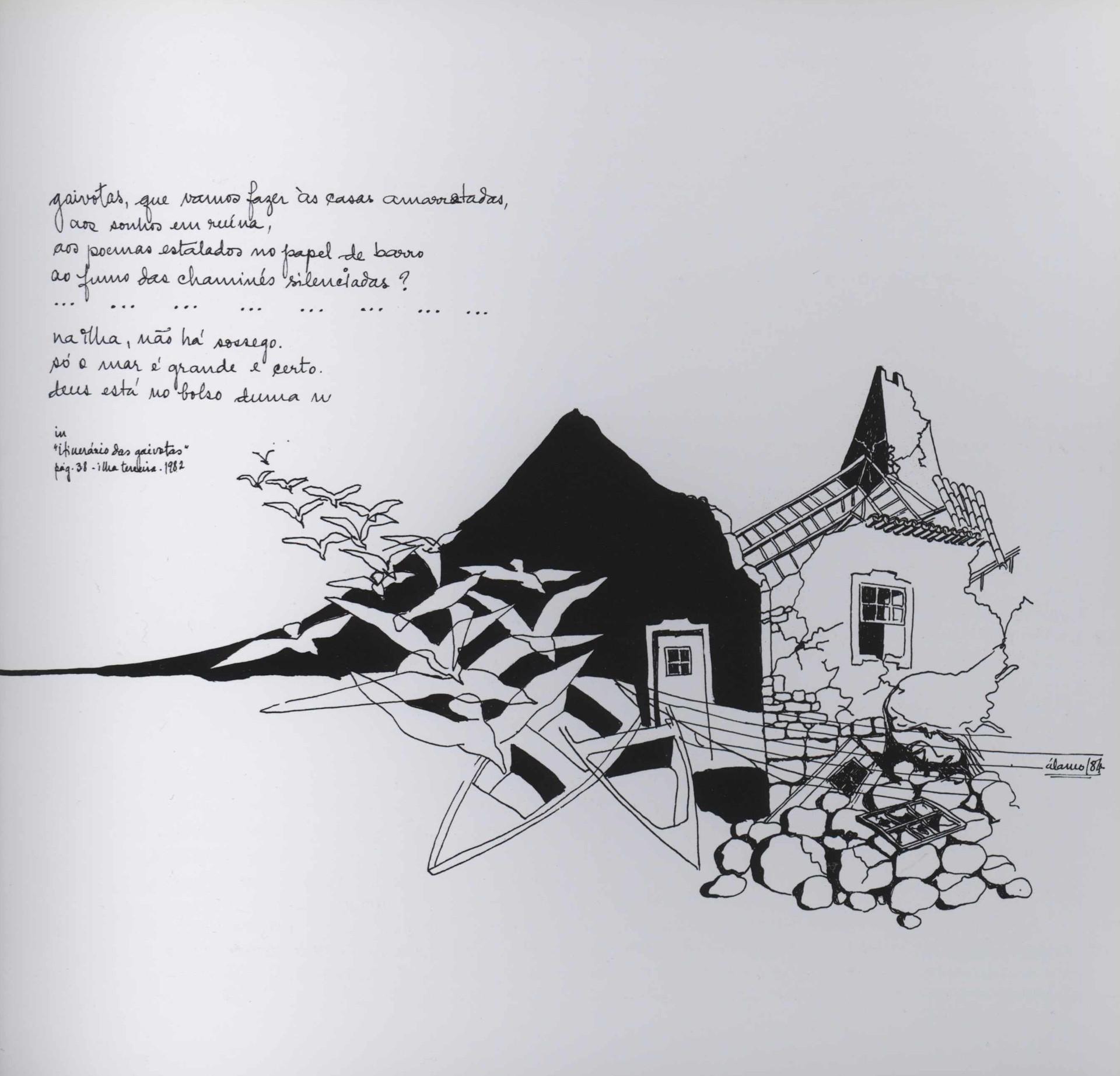 """Itinerário das gaivotas / Álamo Oliveira [autor do texto, capa e arranjo gráfico]. - Angra do Heroísmo : Secretaria Regional da Educação e Cultura, 1982. - 67, [4] p. ; 21 cm. - (Gaivota ; 23)   Imagem retirada do livro """"O meu coração é assim""""."""