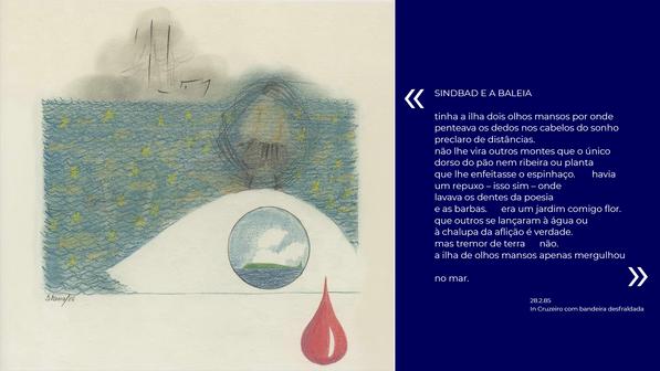 """Sindbad e a baleia Lápis sobre papel  Col. particular João Afonso  Publicado em """"O meu coração é assim""""."""