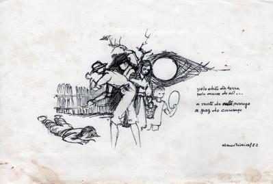 Pelo chão da terra, pelo amor do sol… 1982 Desenho a tinta da China sobre papel  Col. particular Álamo Oliveira