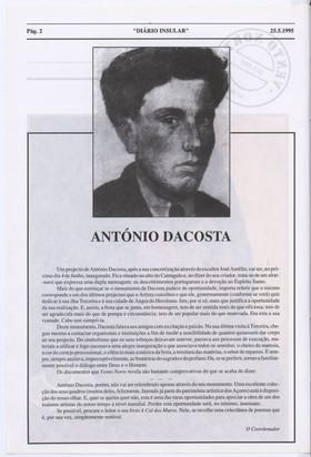 António Dacosta / o coordenador  In: Diário Insular. Vento Norte. - Angra do Heroísmo. - N.º 58 (25 de maio 1995) p. 2